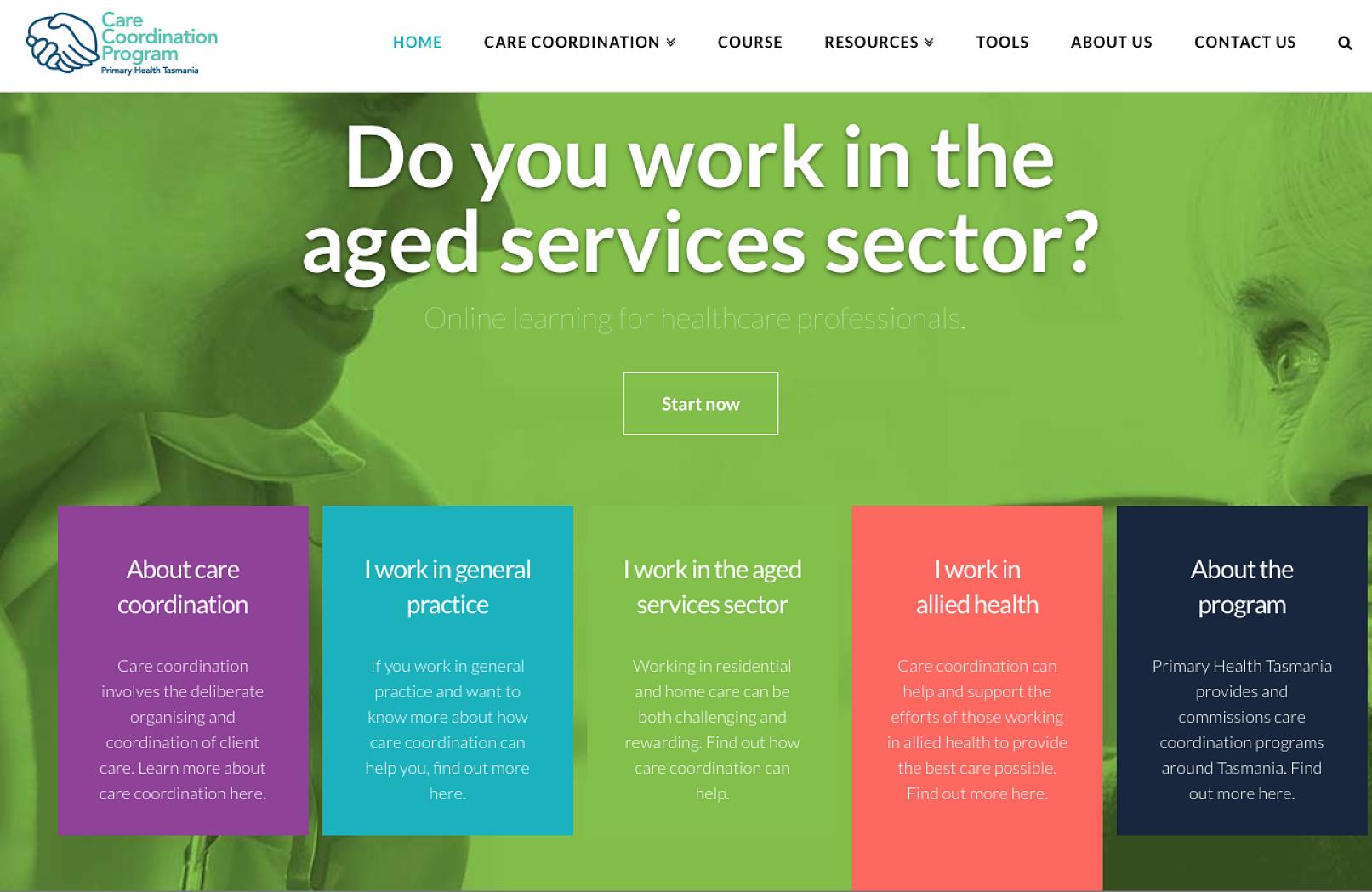 Primary Health Tasmania Care Coordination website, copyediting by Hit Send